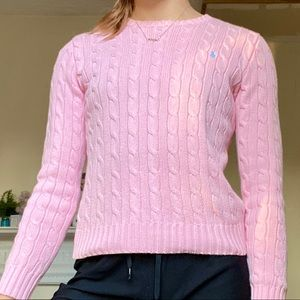ralph lauren baby pink cable knit sweater